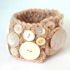 Cream Beige Recycled Button Cuff Bracelet  UK Seller by Pookledo, £8.00