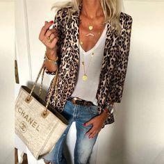 b3c7a0865fea Fashion Lapel Leopard Printed Casual Blazers – ebuytide Louis Vuitton  Speedy Bag, Louis Vuitton Neverfull