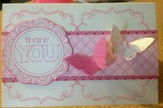 My thank you card that I made using Cotton Candy Exclusive Ink Pad, Chantilly Paper Range, Frame Flair Flair Stamp Set, Love This Seasons & Nature Stamp Set, A True Thank You Occasions Stamp Set.