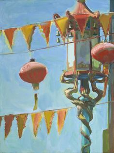 """Boyd Gavin, """"Flags and Lanterns"""", oil on canvas Opposite Colors, Worlds Of Fun, Beautiful Paintings, Oil On Canvas, Outdoor Painting, Contemporary Art, Illustration Art, The Incredibles, Inspiring Art"""
