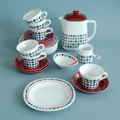 Rörstrand Rorstrand RED TOP coffee set Kaffeeservice Marianne Westman