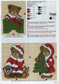 Cute bears Christmas x stitch Cross Stitch Christmas Ornaments, Xmas Cross Stitch, Cross Stitch Cards, Christmas Embroidery, Cross Stitch Kits, Counted Cross Stitch Patterns, Cross Stitch Designs, Cross Stitching, Cross Stitch Embroidery