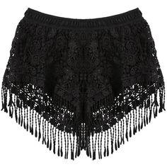SheIn(sheinside) Black Elastic Waist Tassel Lace Shorts (125 VEF) ❤ liked on Polyvore
