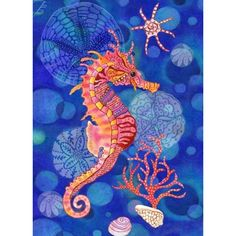 DIY Diamond Painting Cartoon Seahorse on Blue - craft kit DIY Diamantmalerei. Seahorse Art, Seahorses, Seahorse Drawing, Seahorse Painting, Blue Crafts, Sea Art, Fish Art, Blue Art, Silk Painting