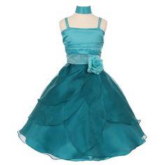 Little Girls Teal Accent Cascade Overlaid Studded Waist Flower Girl Dress 4-6 - Sophia's Style