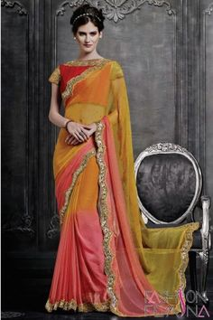 Yellow and Peach Faux Chiffon Party Wear Saree   http://www.fashionfemina.com/catalogs/magnificent-designer-sarees-online/  #sarees, #designer sarees, Wedding sarees, Online shopping, #latest collection #indian sarees, #ethnic sarees collection #buy designer sarees online #new arrival