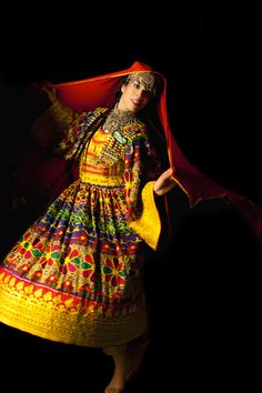 Iranian choreographic artist Rana Gorgani in traditional Pashtun clothes, worn at her Afghan dance performances.