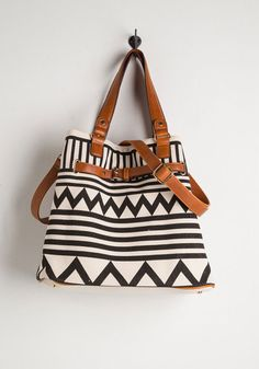 Gifted at Graphics Bag. Your mad skills got you a graphic design gig, and youre ready to go carrying this canvas-like bags bold, black print! #black #modcloth