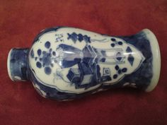 19thc Chinese blue&white prunus porcelain vase panels of flower precious objects