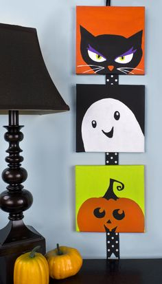 Cute little Halloween canvases that I made for DecoArt.com