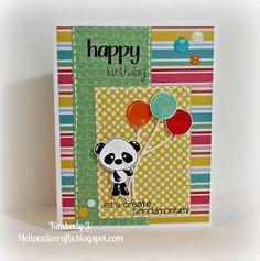 Kimberly's Crafty Spot: Panda Birthday card using Pink & Main Pandamonium and Stitched Greetings stamp sets.