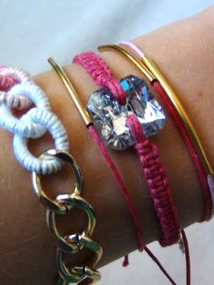 Pink and Gold Arm Candy Bracelet Set by Katrinaosity on Etsy