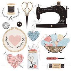 Most up-to-date Cost-Free hand sewing illustration Suggestions Vektor: Vintage vector tailor's tools Sewing Art, Hand Sewing, Sewing Crafts, Sewing Projects, Sewing Patterns, Sewing Stitches, Purse Patterns, Sewing Tutorials, Deco Stickers