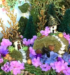 ..showing my hand made clay and painted mushrooms in fairy garden