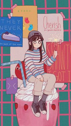 Hamperson is an illustrator from South Korea.The illustrations record a girl's daily life. The illustrations are very popular with girls on campus. Wallpaper Wa, Cute Pastel Wallpaper, Kawaii Wallpaper, Cute Wallpaper Backgrounds, Cute Cartoon Wallpapers, Screen Wallpaper, Wallpaper Quotes, Aesthetic Art, Aesthetic Anime