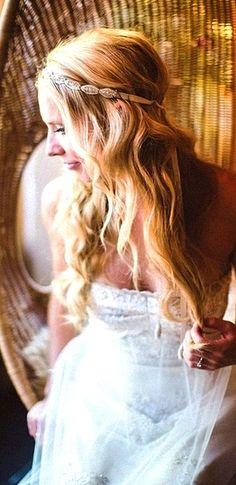 Boho bride's long wavy curls jeweled headband wedding hairstyle  ♔
