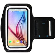 Galaxy S6 / S6 Edge Running & Exercise Armband with Key Holder & Reflective Band (Black with Blue Reflector)