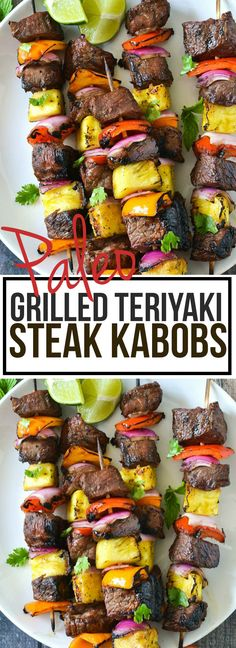 An easy recipe for tender and juicy Grilled Teriyaki Steak Kabobs marinated in a delicious paleo teriyaki sauce with bell peppers, red onion and pineapple.
