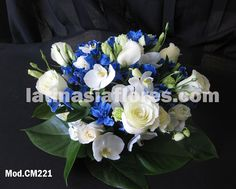 Wedding Bouquet | White phaleanopsis orchid, ivory roses, and blue alstroemeria | very pretty and certainly elegant