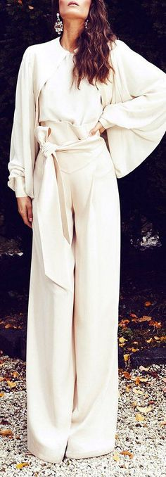 Gorgeous ivory jumpsuit! Ozlem Suer Womens spring fall fashion clothing outfit Cool websites where to buy? http://fancyoutletsale.com , http://hautelook.com