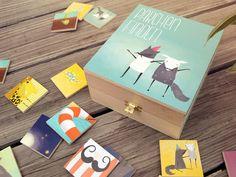 Juegos de memoria - juego de memoria para los niños de madera - una pieza de diseño de LE BIEN realizada DaWanda Wood Toys, Softies, Guest Room, Puzzles, Woodland, Coasters, Packaging, Etsy, Crafts