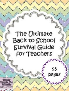 This Back to School Survival Guide for Teachers will help you get organized before the students come back to learn! There are many items included in this 95 page download. You have a choice between TWO different design choices for your teacher binder. In addition to the binder covers, you will find classroom forms and calendar pages. This is a MUST-HAVE for all teachers! ($)