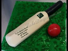 Step by step tutorial on how to carve and cover a cricket bat cake. Composed by my 2 beautiful children. You will get approx 20 serves out of this cake. Cricket Birthday Cake, Cricket Theme Cake, Birthday Cakes, 7th Birthday, Rugby Cake, 18th Cake, Sport Cakes, Cake Youtube, Cake Tutorial