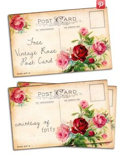 Free Vintage Altered Art Romantic Rose Post Card - Free Pretty Things For You postal carte rosas Vintage Ephemera, Vintage Paper, Vintage Postcards, Post Cards Vintage, Images Vintage, Romantic Roses, Vintage Roses, Vintage Prints, Envelopes