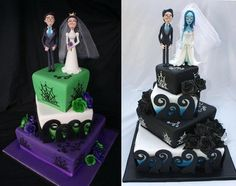 Really like the black/blue one. Creepy Couples Cakes