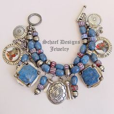 Schaef Designs VJP Rocki Gorman bridle rosette denim lapis & Vintage Charm bracelet | | Schaef Designs Southwestern  Jewelry  | New Mexico