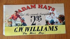 Vintage 1940s Adam Hats Illustrated Paper Board by retrowarehouse