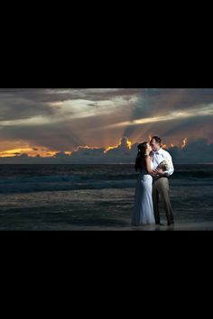 Sunset at our beach wedding