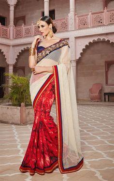 Tempting Red Designer Fashion Saree