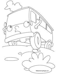 Cartoon Van Coloring Page