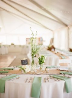 sage table setup | via Sage Wedding Ideas from http://emmalinebride.com/color/sage-green-wedding-ideas/