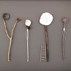 Ceramic and mixed media utensils and compositions by Elaine Bolt