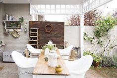 Fall porch, outdoor decorating, garden table