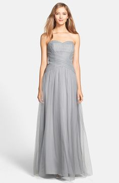 ML Monique Lhuillier Bridesmaids Back Drape Tulle Gown available at In blush and on clearance Vestidos Mob, Monique Lhuillier Bridesmaids, Grey Bridesmaid Dresses, Wedding Bridesmaids, Tulle Gown, Chiffon Gown, Blush, Mob Dresses, Cheap Wedding Dress