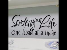 Laundry In Bathroom, Laundry Room Sayings, Laundry Room Wall Decor, Laundry Quotes, Wall Decal Living Room, Laundry Closet, Laundry Room Organization, Laundry Rooms, Kitchen Wall Art