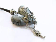 Herz an Lederband Kette Steampunk handgemacht mit Steampunk Elementen aus vintage Uhrwerkteilen