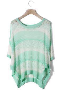 Mint Green Stripes Mesh Top