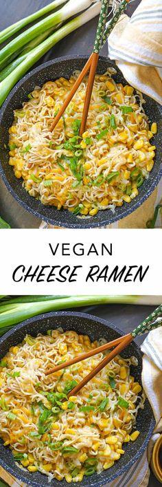 This is how to make Korean corn cheese ramen #vegan in under 15 mins! Using vegan items, you can make a vegan cheesy #ramen inspired by Korean bar food. Cheese Ramen, Corn Cheese, Vegan Cheese, Ramen Recipes, Veg Recipes, Delicious Vegan Recipes, Edgy Veg, Vegan Ramen, Korean Dishes