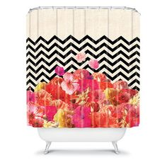 Chevron Flora Shower Curtain, $70, now featured on Fab.