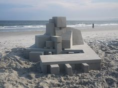 Artist Builds Highly Detailed Geometric Sandcastles Along the Shores of Rockaway Beach in Queens