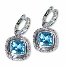 I'm pinning yet another attractive color gemstone earrings - Parris Jewelers Diamond Drop Earrings, Gemstone Earrings, Gemstone Colors, Blue Topaz, Diamond Engagement Rings, White Gold, Dbt, Jewels, Gemstones