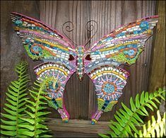Mosaic Butterfly by Yellow Cottage Mosaics  -  Semi-precious stones, shells, pearls, gold smalti, Mexican tiles, vitreous glass, glass rods & millefiori