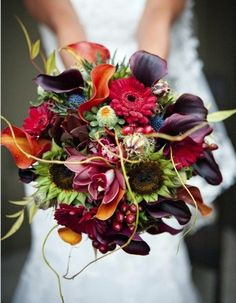 What a beautiful rustic bouquet. My bride, Mari will have a similar bouquet for her fall wedding this year. Bouquet Bride, Fall Wedding Bouquets, Wedding Flowers, Fall Flowers, Bridal Bouquets, Fall Bouquets, Bouquet Flowers, Bright Flowers, Winter Bouquet