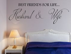 Best Friends For Life...Husband & Wife - Bedroom Wall Decal Wall Art - Marriage Decal - Wedding Decal