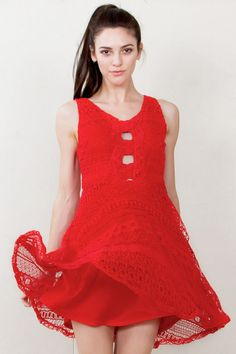 A gorgeous red crochet skater dress with cutouts in the front and back. Fully lined.  Material : 50% Polyester, 50% Cotton  Care : Hand Wash Only | Shop this product here: spree.to/4rx | Shop all of our products at http://spreesy.com/moda    | Pinterest selling powered by Spreesy.com