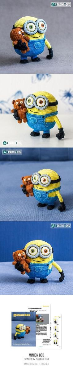 Minion Bob And Bear Tim Amigurumi Pattern: